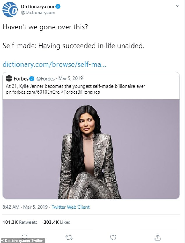 Casting a shadow: Dictionary.com had something to say about Kylie being called a self-made millionaire by Forbes
