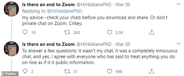 Профессор сказал, что лучшее, что можно сделать, чтобы избежать неприятностей, это очень просто: «Не приватный чат на Zoom»