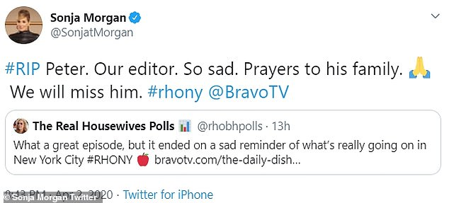 'We will miss him':RHONY star Sonja Morgan paid homage to Peter on Twitter on Thursday