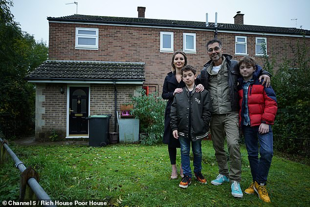 Damien Lee, a wealthy Bournemouth entrepreneur, appears on Sunday's Rich House, Poor House on Channel 5 as he trades his budget of £ 1,300 for £ 45 (photo with partner Weronika and sons James, 12 and Josh, 11 )
