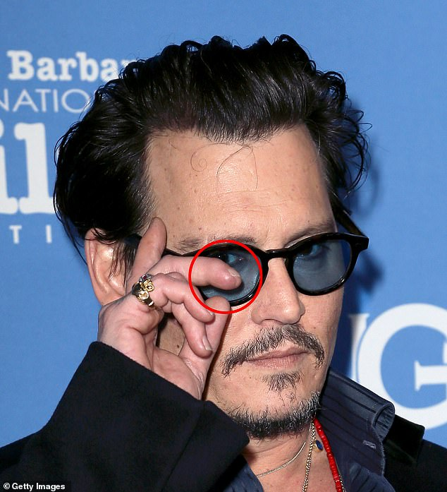 The violent incident took place a month after the couple's marriage and while Depp was filming the fifth episode of the Pirates of the Caribbean film franchise in Australia. Captain Jack Sparrow's actor, 56, giggles in front of the camera as he reveals how he dubbed the permanently damaged figure `` Little Richard ''. Pictured: Depp's finger after surgery