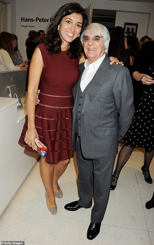 Fabiana Flosi and Bernie Ecclestone attends a party celebrating the launch of 'Sweet Revenge: The Intimate Life of Simon Cowell' by Tom Bower at The Serpentine Gallery on April 25, 2012