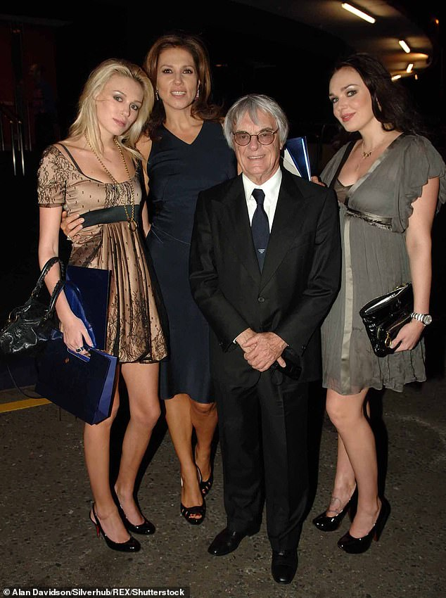 Bernie with his ex-wife Slavica and their two daughters Petra (left) and Tamara (right)