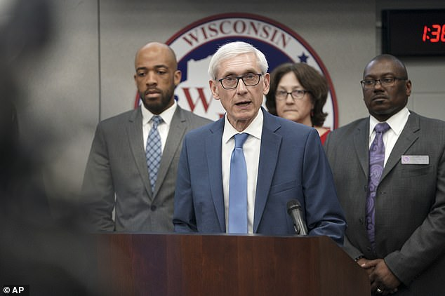 He then pointed a finger at the Democratic governor of Wisconsin Tony Evers (pictured) and said he wanted to delay the state's primary to hurt a Republican judge