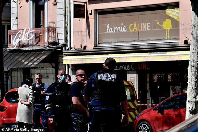 The attack comes the third week of foreclosure from France due to the coronavirus, which has killed more than 6,500 people in the country alone. Pictured: police on scene after attack