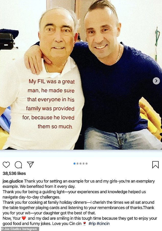 Paying tribute: Joe Giudice pays tribute to estranged wife Teresa's 'guiding light' father Giacinto Gorga after he dies at age 76