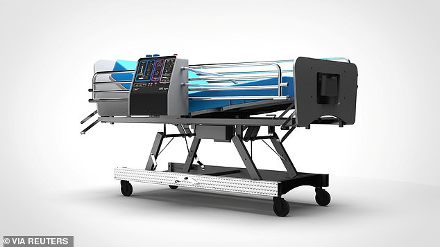 A graphic representation of the CoVent ventilator, designed by Dyson, is seen attached to a hospital bed.Efforts to get manufacturers to produce ventilators are underway
