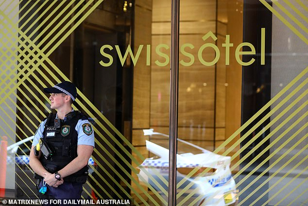 It follows the federal government's policy which has seen all returned tourists forced to stay in hotels under police guard to ensure they do not breach quarantine (Pictured is the Swissotel in Sydney's CBD)