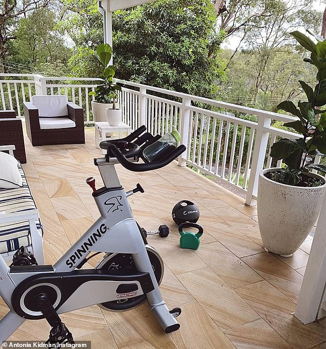 'Adapting to lockdown!' Antonia Kidman, 49, showed off her impressive home gym (pictured)  on Sunday while self-isolating at her Sydney mansion amid the coronavirus pandemic