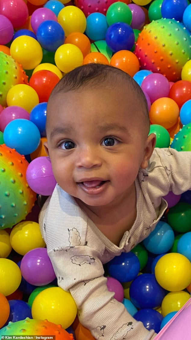 Aww: Also on Instagram socialite stories, there were three photos that melt the heart of her ten month old baby boy, Psalm in a ball pit