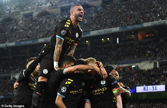 Kyle Walker, pictured in Manchester City's 2-1 victory over Real Madrid in February, faces disciplinary action with his club over his behavior