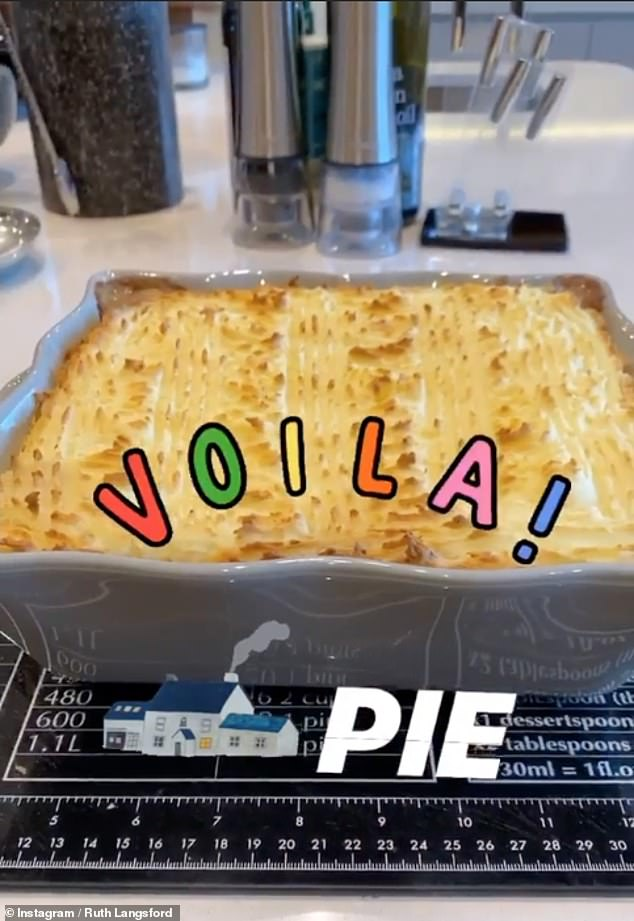 Yummy: The blonde cooked up a storm as she showcased her delicious shepherd's pie