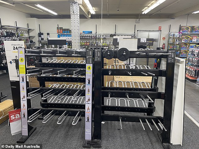 Department stores such as Rebel Sport (pictured last week) experienced a rush on gym equipment by those who wanted to keep fit as it became obvious Australia was headed for lock-down