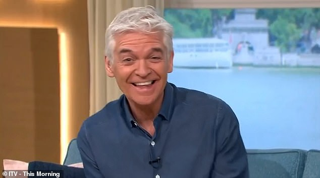 Tickled:However, many at viewers home were left bemused by the presence of her horse, as too was host Phillip Schofield, 58, who branded the spectacle 'weird'