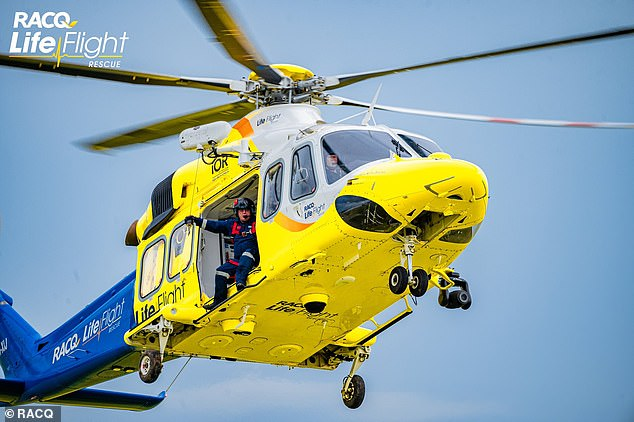 He suffered serious leg injuries in the attack and was flown in a rescue helicopter with critical care paramedics to Gladstone Hospital in a serious condition