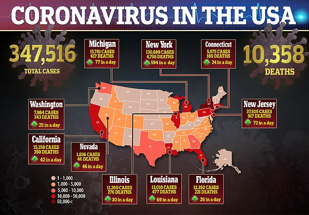 As of Monday, more than 347,500 coronavirus cases and at least 10,358 deaths have been reported in the US - as officials say the pandemic peak is yet to come