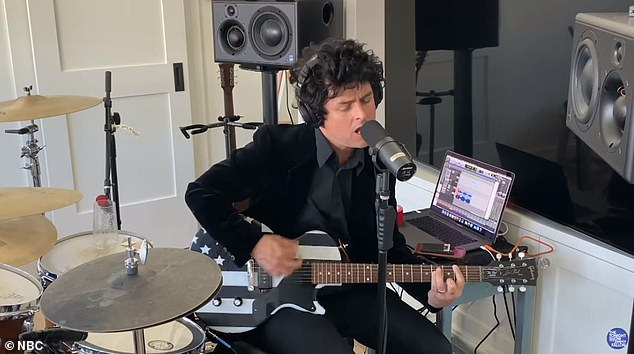 Popular song: Billie Joe Armstrong, 48, also performed a cover of I Think I'm Alone Now which was taken over by Tiffany in 1987