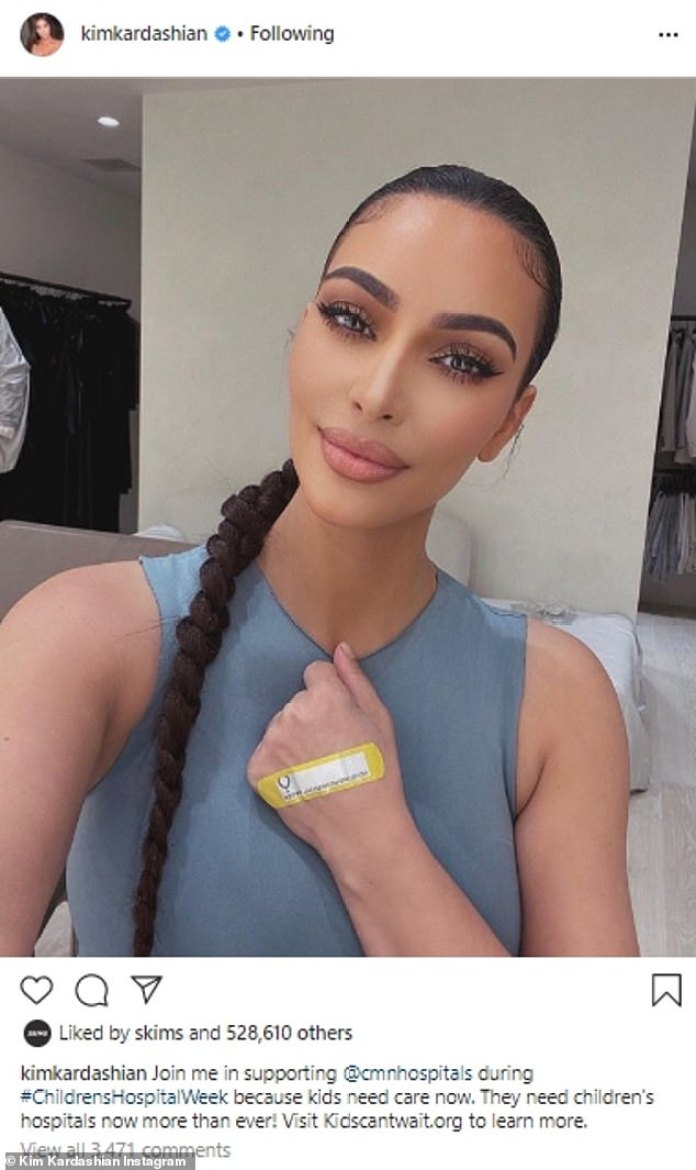 'Children need attention now': Kim Kardashian continued their relief efforts of the coronavirus with a new selfie he posted on Instagram Tuesday