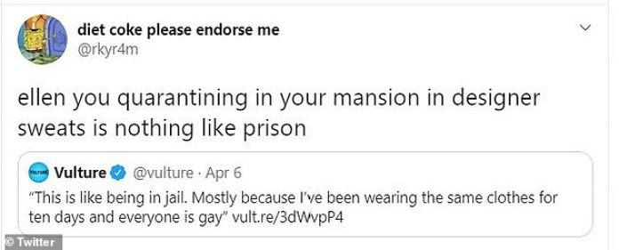 Ellen DeGeneres slammed on Twitter for joking that self-isolating ...