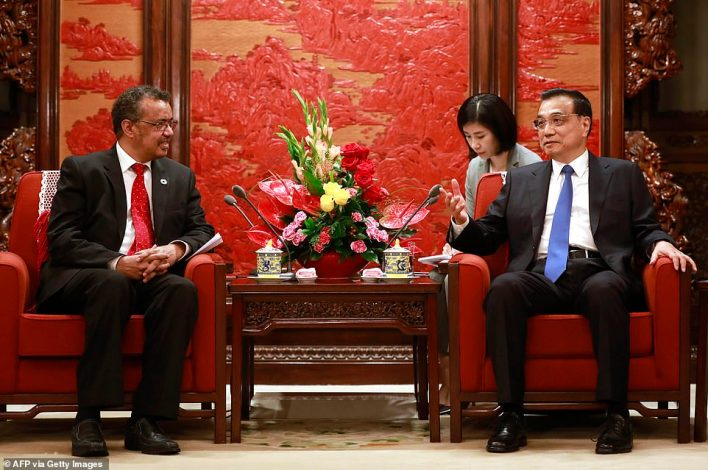 Dr Tedros (left) became the first African head of the WHO and the first non-medical doctor to hold the role when he was elected in 2017, amid allegations of heavy lobbying by China (pictured, Dr Tedros in Beijing shortly after his election)