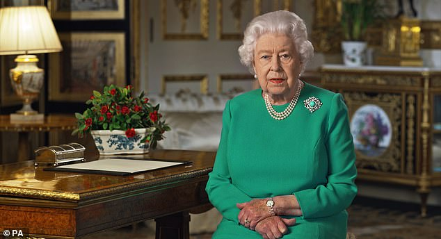 Their announcement comes just a day after the Queen spoke to the UK about the coronavirus pandemic. The couple were forced to change Sussex Royal brands after the Queen (above) and senior officials ordered them to stop using the word `` royal ''