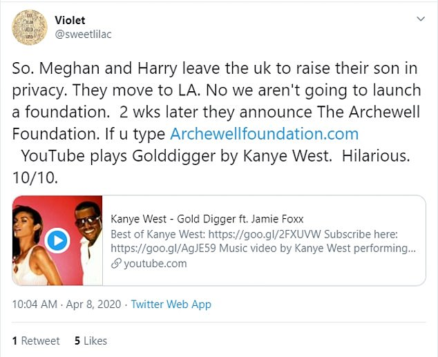 A number of eagle-eyed social media users spotted the embarrassing blunder, one of them writing on Twitter: `` Oh oh. As of April 7, if you enter archewellfoundation.com in your browser, it is actually linked to the video of Kanye West - Gold Digger on YouTube.