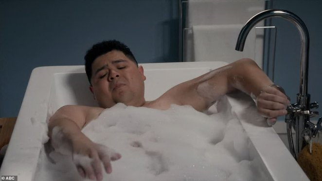 Bathroom handcuff: Manny was handcuffed to the tub by his mother Gloria after she gave him a goodbye note