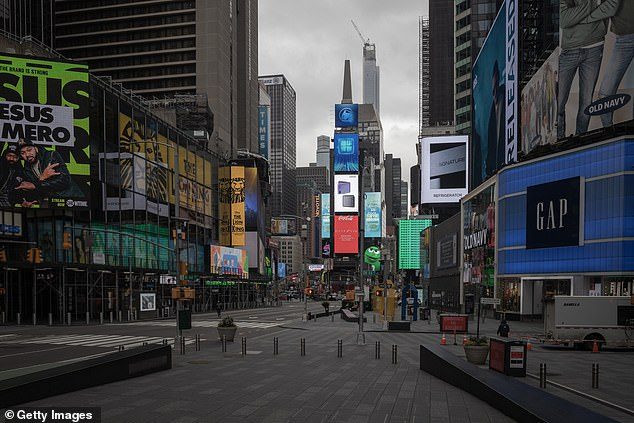 Millions of Americans are under some type of stay-at-home order, but a new survey finds many are unsure what that means nor do they care to follow. Pictured is Time Square, which is empty due to New York's shelter-in-place policy