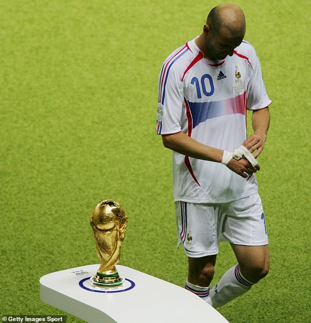Zidane was kicked out for beating Italian Marco Materazzi in the 2006 World Cup final
