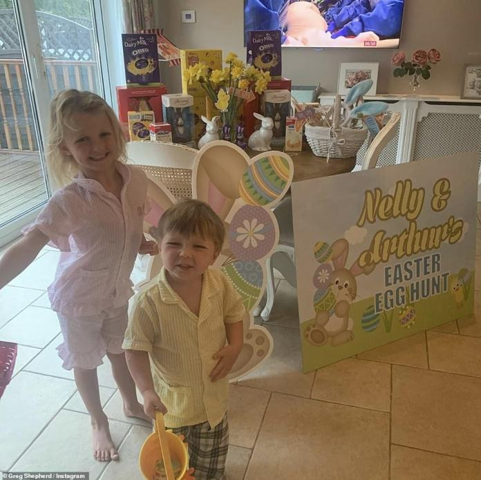 Extreme Easter: Billie Faiers, 30, and husband Greg Shepherd went out of their way to make Easter Sunday memorable for their two children Nelly, 5, and Arthur, 3