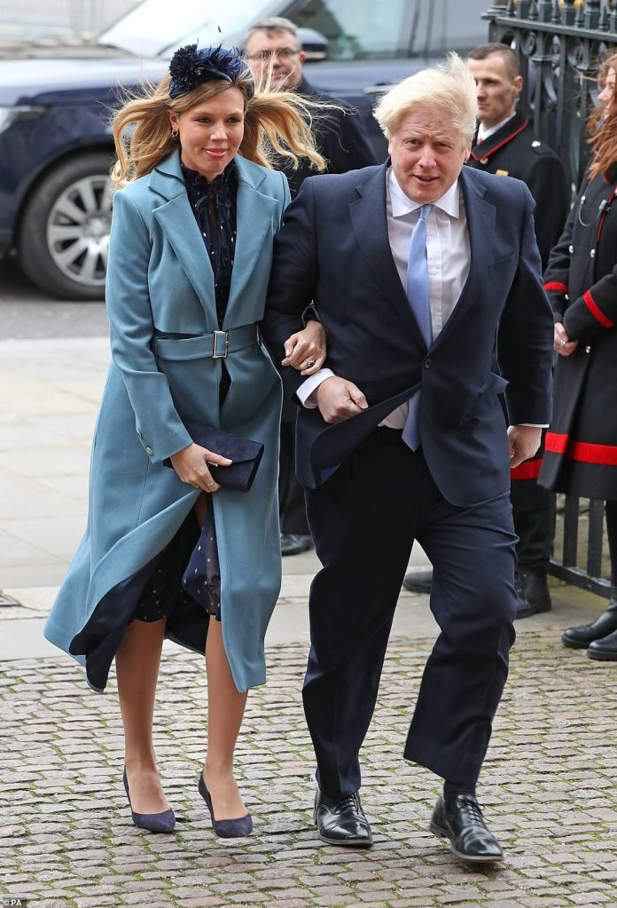 Prime Minister Boris Johnson and partner Carrie Symonds arriving at the Commonwealth Service in Westminster Abbey, London on Commonwealth Day