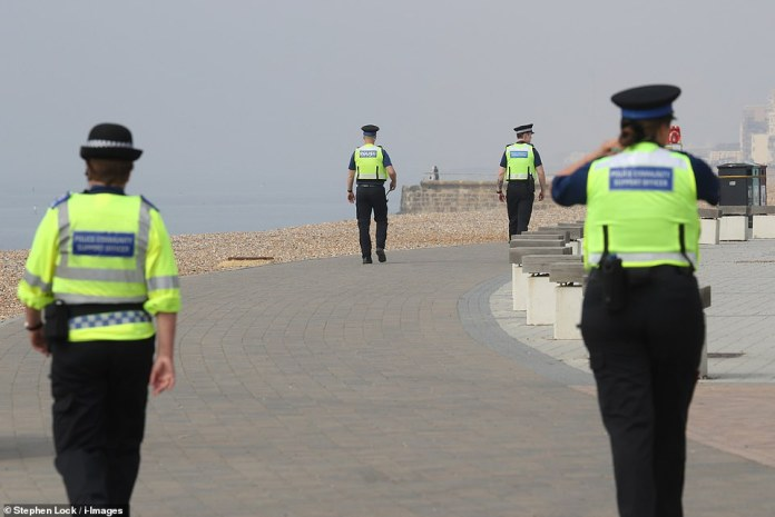 The PCSOs were on the Brighton seafront on Sunday morning as they prepared to spend their shifts monitoring anyone who flouted the lockout rules. Beach left almost completely empty on Sunday as Britons begin to accept lockout rules