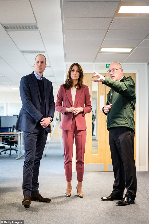 Britain is at its best in a crisis, said the Duke of Cambridge, as he checked how small charities were doing during the coronavirus pandemic via Facetime. The prince is pictured last month with Kate Middleton at the London Ambulance Service control room in Croydon