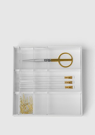 The Expandable Desk Drawer Organizer (pictured) is for sale on Marie's website