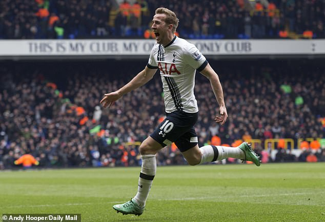 Kane celebrates after scoring a superb goal against Arsenal in the derby in March 2016