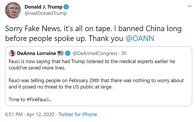 President Donald Trump hit Dr. Anthony Fauci by retweeting the hashtag #FireFauci (photo) Sunday evening, just hours after the country's top immunologist said he had received a lot of relief for recommending the US arrest in February.