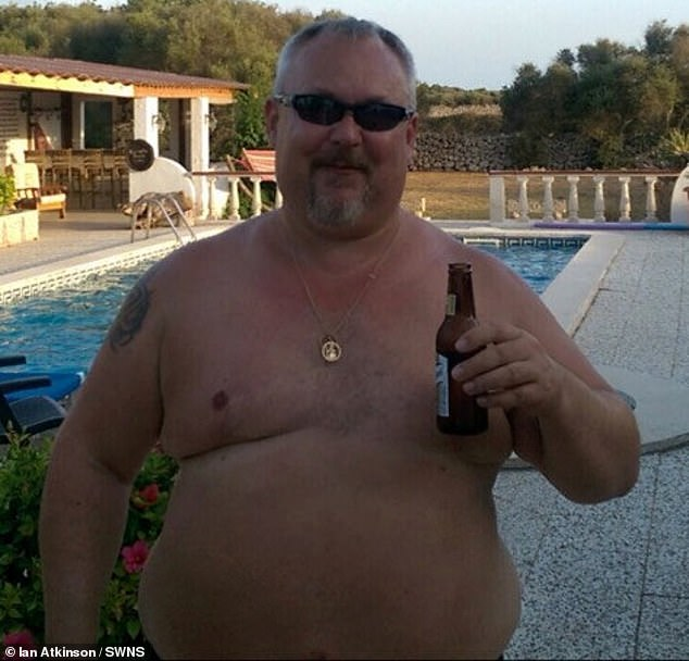 The 48-year-old (pictured before) saw his weight escalate from eating 5,000 calories a day, while relying on service stations for regular fry-ups
