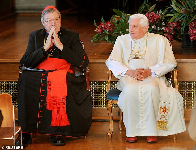 Pope Benedict XVI with Cardinal George Pell in July 2008 at an inter-faith meeting in Sydney