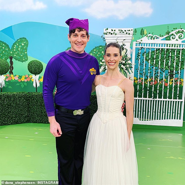 The day he moved on: Lachlan met current fiancée Dana Stephensen (right) as the dancer filmed a cameo on The Wiggles in December 2018