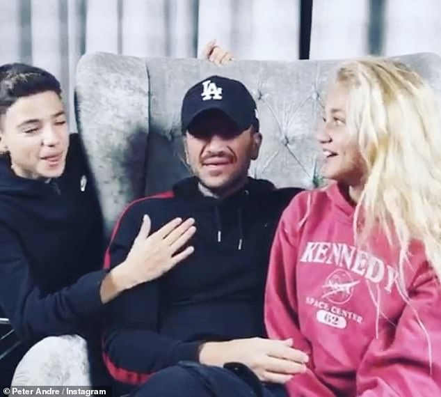 Middle two: The media personality shares Junior, 15, and Princess, 13, with first husband Peter Andre, 47, to whom she was married to from 2005 until their divorce in 2009