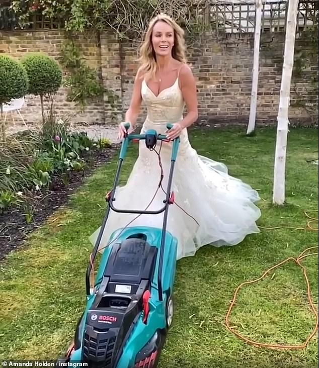Amanda Holden mows the lawn in a WEDDING DRESS – ReadSector
