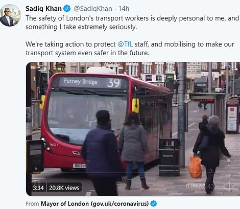 Last night the mayor highlighted the safety of London transport workers, tweeting: