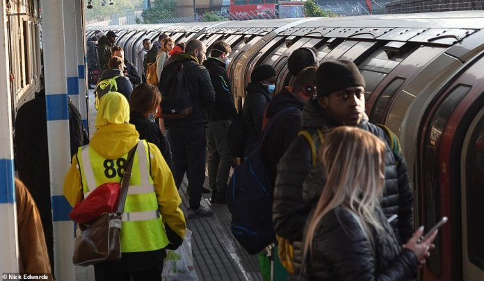This morning workers from a tube in Leytonstone, east London, were seen piled up on the tube. The station is in zone 3/4 of the TfL network