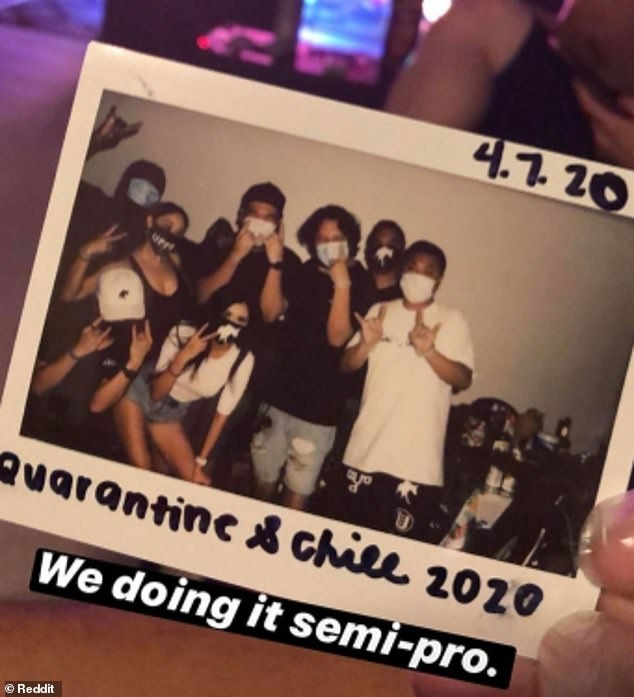 These friends, from an unknown location, all gathered together earlier this month for a houseparty. They all wore masks thinking it would be enough to protect them