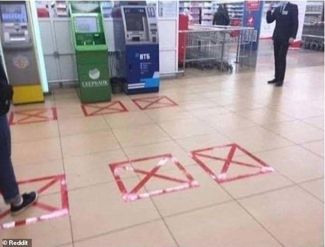 This supermarket, in an unknown location, really tried its best with social distancing. Unfortunately, whoever taped down the markers forgot it included sideways contact