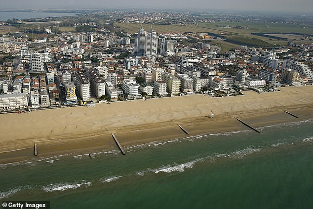 An aerial view of a helicopter from the deserted Jesolo beach just outside of Venice during the Covid-19 lock