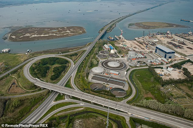 An aerial image of Chioggia near Venice during the lockout shows empty freeways while people stay at home