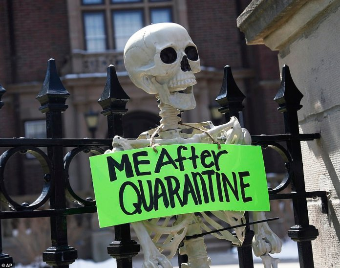 Fake skeleton attached to fence as protesters gathered outside Walz's official residence on Friday