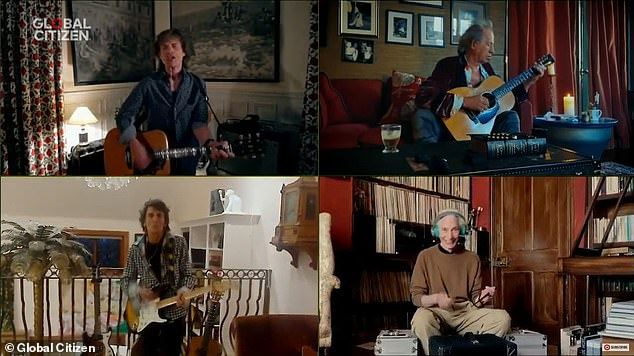 The Rolling Stones played You can't always get what you want via a screen divided into four