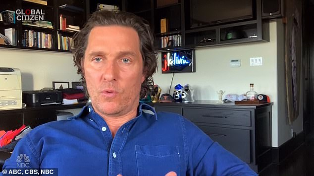 Matthew McConaughey recorded a message of support from his home in Austin, Texas, where the actor is currently self-isolating.